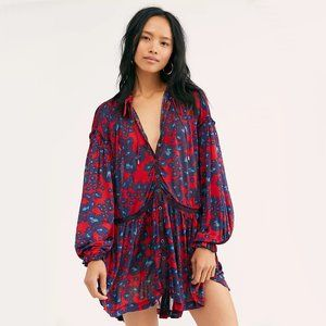 NWT Free People merlot floral print tunic blouse S